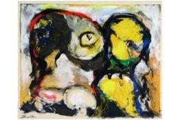 """BALLE MOGENS (1921 - 1988) origineel werk in gemengde techniek op een litho : """"Cobra-compositie"""