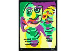 APPEL KAREL (1921 - 2006) zeefdruk in kleuren n° Epreuve d'Artiste met een typische compositie (