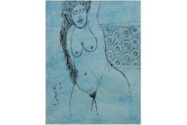 """CORNEILLE (1922 - 2010) (1922 - 2010) tekening in inkt op Japans papier : """"Blauw naakt"""" - 31 x 24"""