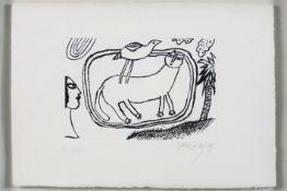 """CORNEILLE (1922 - 2010) (1922 - 2010) ets n° III/XX : """"Chat et oiseau"""" - 35,5 x 50,5 getekend en"""