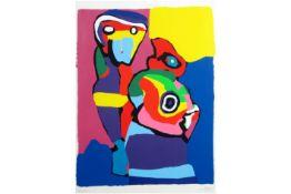 """APPEL KAREL (1921 - 2006) kleurlitho n° 45/100 : """"Kleurrijke compositie met figuren"""" - 67 x 51"""