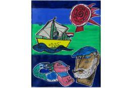 """CORNEILLE (1922 - 2010) (1922 - 2010) schilderij in gemengde techniek (gouache) getiteld """"Le chant"""