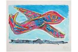 """APPEL KAREL (1921 - 2006) silkscreen in kleuren n° EA getiteld """"Big Bird F28"""" - 62,5 x 72,5 getekend"""