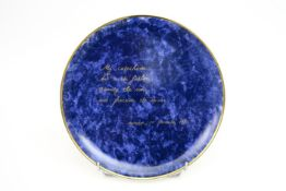 """Jan Fabre """"My Catechism"""" plate in porcelain, marked on the back """"Excerpt from Night Diary 1978 - 198"""
