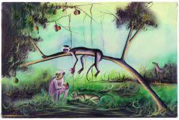 20th Cent. African oil on canvas- signed Nsimba Katesa||KATESA NSIMBA (20° EEUW) (Afrika) olieverfsc