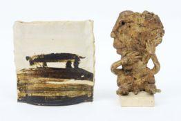 20th Cent. Belgian small vase and sculpture in painted ceramic signed José Vermeersch||VERMEERSCH JO