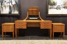 """Belgian """"De Coene"""" set of a marked Art Deco dressing-table and a matching pair of bedside tables  -"""