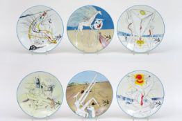 """set of five plates in Limoges marked porcelain with representations of Dali's """"The Conquest of the C"""