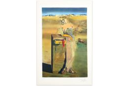 Salvador Dali signed print with a typical surrealistic theme - with blindstamp||DALI SALVADOR (1904