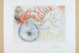 "Salvador Dali ""Elijah and the chariot"" mixed media print (aquatint and etching) in colors dd 1975 -"