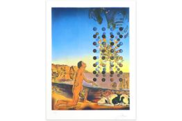 Salvador Dali signed print with a typicel surrealistic theme - with blindstamp||DALI SALVADOR (1904