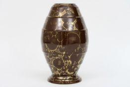 "French ""Lucien Brisdoux"" signed Art Deco vase in glazed stoneware ||BRISDOUX LUCIEN (1878 - 1963) Fr"