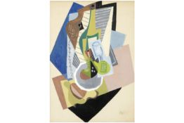 """Jean Pougny cubist style """"Still life"""" mixed media (with gouache and collage) - signed prov : former"""