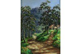 20th Cent. Balinese oil on canvas - signed Asisha||ASISHA (BALI - 20° EEUW) olieverfschilderij op do