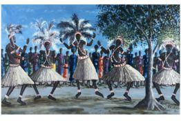 20th Cent. African Congolese Kasanda signed oil on canvas||KASANDA (20° EEUW) (Kongo) olieverfschild