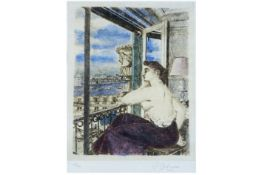 20th Cent. surrealistic Paul Delvaux mixed media (aquarelle on etching on Japanese paper) from the p