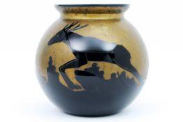 "Art Deco vase in black ""Art Ver"" signed glass with a decor of deer on a gold base||ART VER Art Deco-"