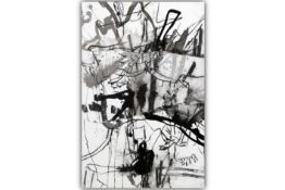 quite large 20th Cent. Belgian mixed media painting with collage, charcoal and ink  - signed Philipp