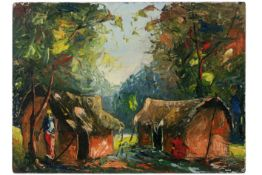 African Congolese Bomolo signed oil on panel , dated (19)74||BOMOLO (20° EEUW) (Kongo) olieverfschil