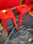 2 METAL RED STOOLS