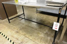 Steel frame stainless steel topped table, approx dimensions to be confirmed shortly
