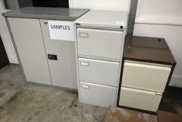 Steel frame 2 door cabinet, 3 drawer pedestal and 2 drawer pedestal units