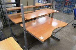 Three twin level/steel frame wood effect desks