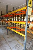 Two bays of adjustable boltless pallet racking, approx height 3000mm, 2750mm width per bay (Please
