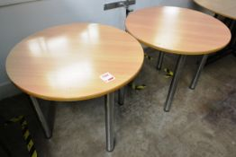 Two light oak effect circular meeting tables, approx 900mm dia