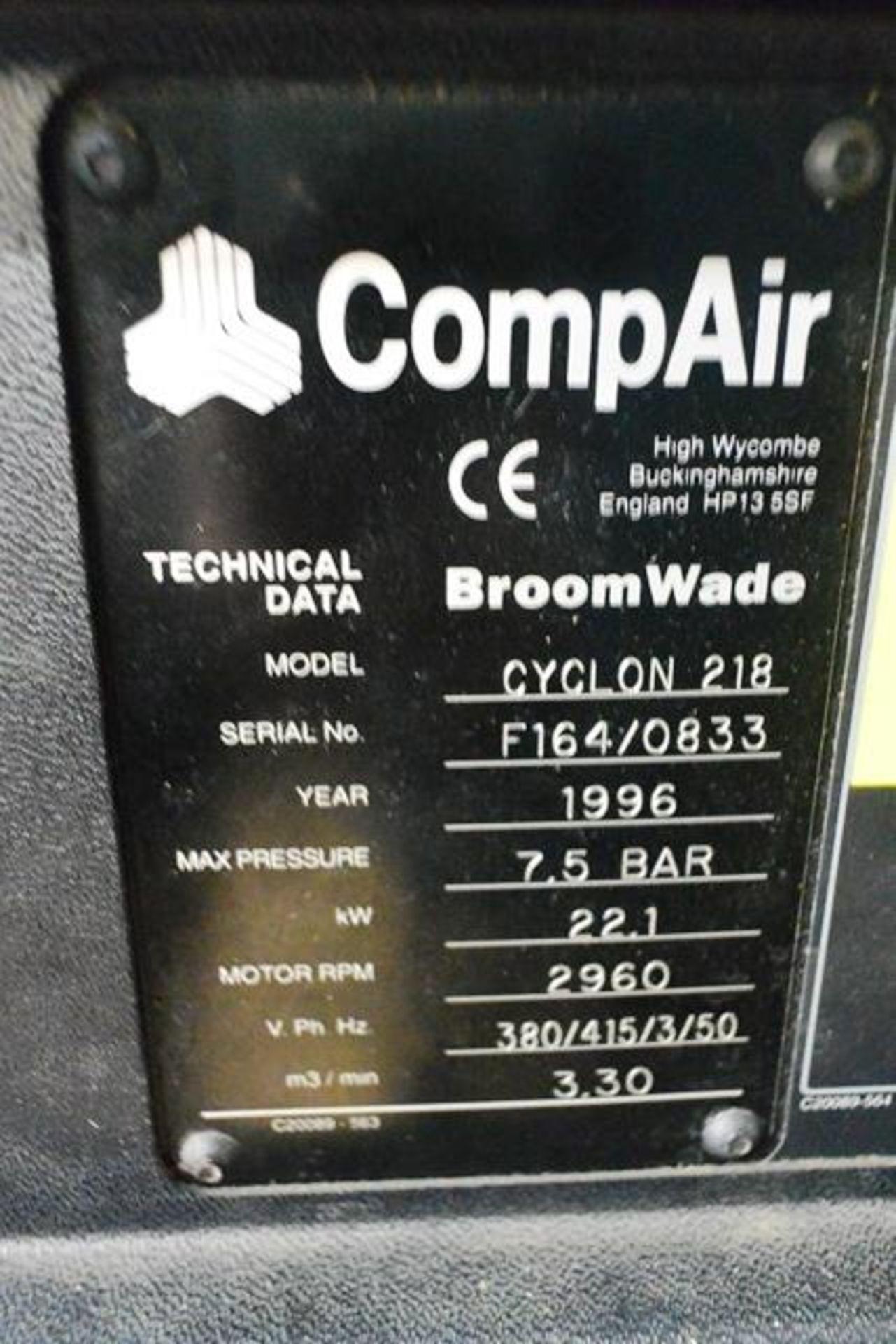 Compair Cyclon 218 air compressor, serial no. F164/0833 (1996), 7.5 bar, 22.1kw, 3 phase, Last... - Image 2 of 2