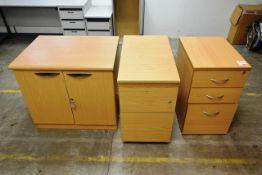 Two light oak effect 3 drawer pedestal units and 2 door cabinet