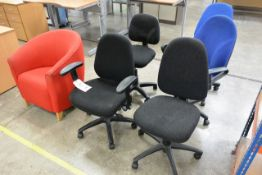 Six various cloth upholstered chairs