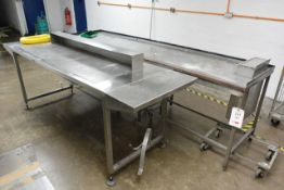 Two various stainless steel workbenches, approx dimensions to be confirmed shortly