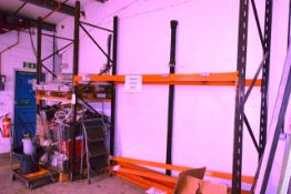 Two bays of adjustable boltless pallet racking, approx height 3000m, bay width 1200mm and 2750mm (