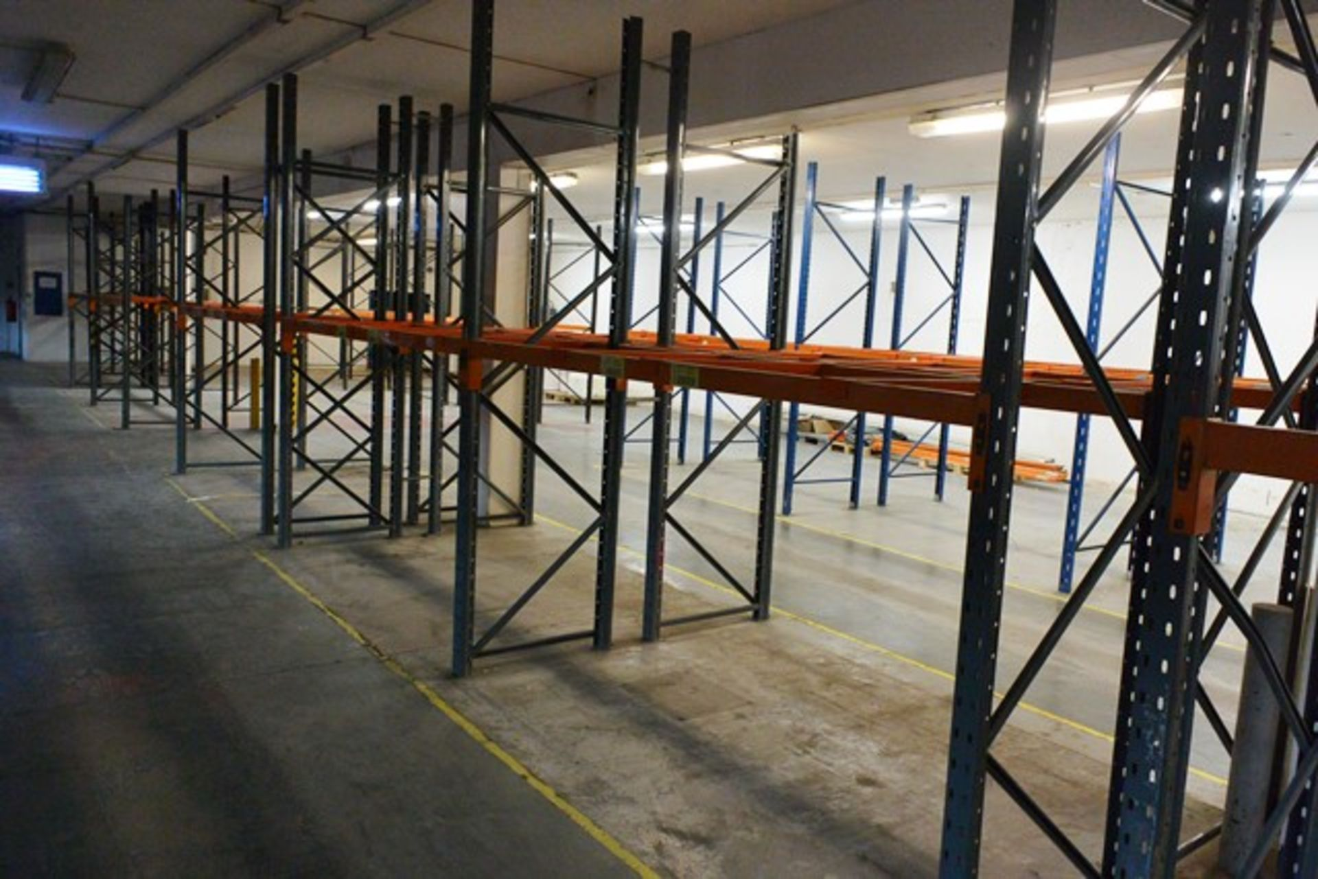 Five bays of adjustable boltless pallet racking, approx height 2700 - 3000mm, 2750mm width per