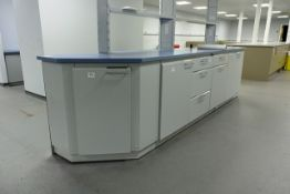 Köttermann single sided lab/workbench with 3 cupboards and 5 drawers, approx 4m in length (please