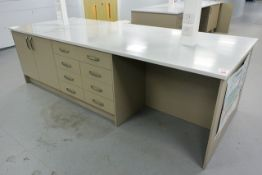 Ultima rectangular twin sided workstation, approx 3 x 1.2m, with sixteen soft close drawers and