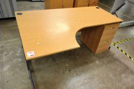 Light oak effect L shape desk, 1800 x 1200mm