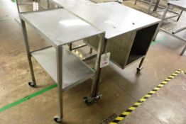 Two mobile stainless steel trollies, approx dimensions to be confirmed shortly