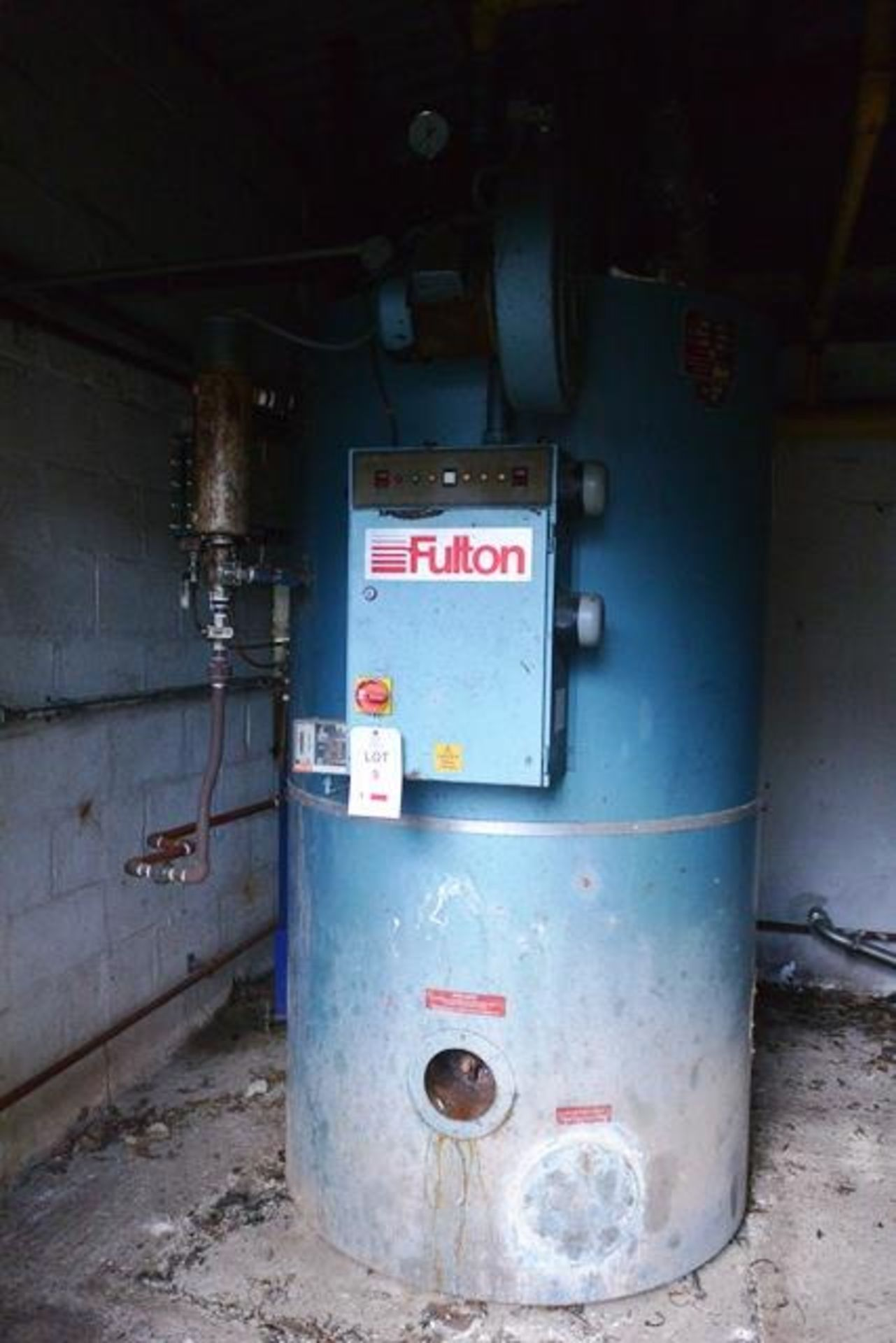 Fulton steam boiler, model 30E, serial no. B7026, design pressure 895 N/mm², test pressure /34N/ - Image 2 of 11