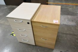 Two various timber effect pedestal units
