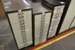 Three various steel filing cabinets (15 drawer)