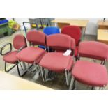 Fifteen various cloth upholstered chairs
