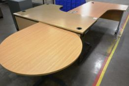 Two various L shape desks and circular side table