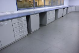 Köttermann wall mounted U shape lab/workbench, approx total length 13m (please note: will require