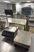 Two various benchtop digital weigh scales, including: Avery G201 and Adam GBK16 (working condition