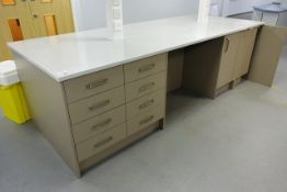 Ultima rectangular twin sided workstation, approx 3 x 1.2m, with nineteen various soft close