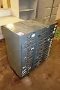 Three Bisley 15 drawer steel filing cabinets