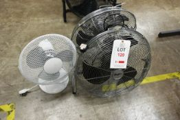 Two Stirflow floor standing industrial fans and unbadged office fan