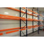 Three bays of adjustable boltless pallet racking, approx height 3950mm, approx bay width 2750mm (